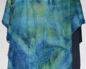 Green & Blue  Luscious Long Wrap - Fabric Length Hand Tie Dyed from soft rayon