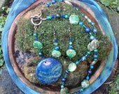 "Multi Gemstone - Sea Sediment Jasper - Crystal - Jade - Malachite - Lapis Lazuli  ""world""  Pendant - Necklace & Earring set"