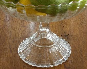 RARE 1888 Bryce Bros Elegant Glass Fishscale Compote - 25% OFF!!!