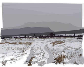 Carl Wark and Higger Tor in Snow .. limited edition giclee print