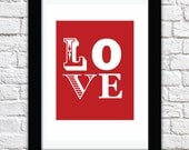 LOVE - Typographic Print - A4 - Romance - Valentines Day gifts for her - for him - for wife - for girlfriend