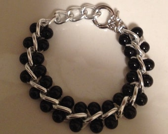 Men Chain Bracelet-Black,Silver