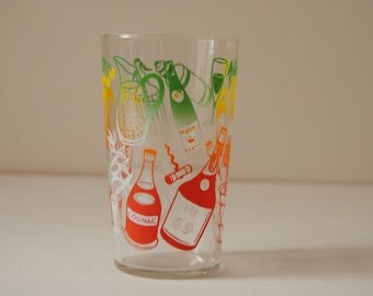 vintage kitsch colourful drinking glass
