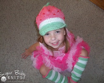 Pink and Green Strawberry Shortcake Inspired Hat and Leg Warmer  Set, Strawberry Shortcake, Hand Knit, Halloween Costume - Custom Order Size