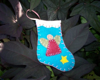 Stocking Ornament - Angel (Blue)