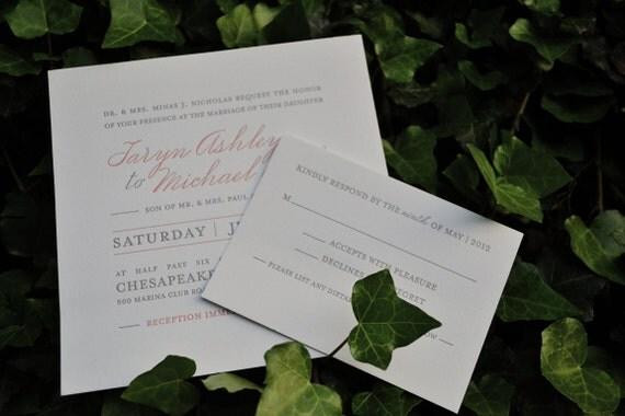 Sample Letterpress Wedding Invitation and Reply Postcard