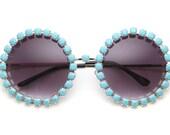 Jenny Turquoise Rhinestone Large Round Fully Studded Sunglasses (Turquoise/Silver)