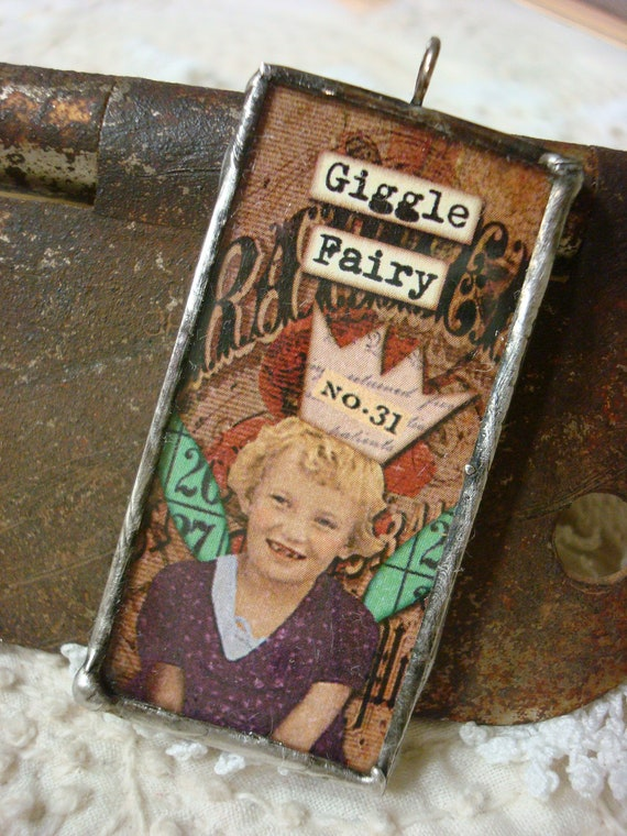"""soldered glass pendant, troubled fairies, """"giggle fairy"""", fun gift idea, handcrafted"""