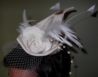 Felt wedding fascinator hat