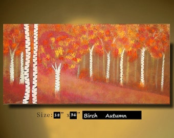 ORIGINAL Abstract Birch Tree Painting Landscape acrylic Painting Modern birch tree art Painting by Sami