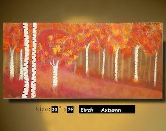 ORIGINAL Abstract Birch Tree Painting Landscape acrylic Painting Modern birch tree art Painting Orange Autumn Tree Painting Art by Sami