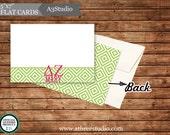 "25 Personalized Delta Zeta 5""x7"" Flat Notecards in Emma No. 9"