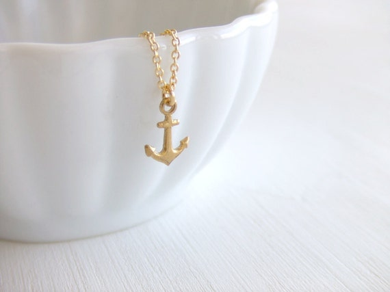 Mini Anchor Jewelry Necklace, 16K Gold Plated, Gift for Her, Gift Guide
