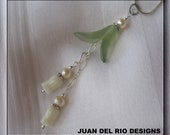 "925 ""Lily of the Valley"" Coral Jade &  Pearl pendant filigree Sterling Silver chains star shape beads ""Romantic"""