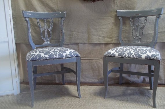 Distressed shabby chic grey chairs