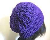 Beret Royal Purple Slouchy Wool Hat