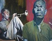 Portrait of John Coltrane with Miles Davis - 8x10 Archival Art Print by Scott Laumann