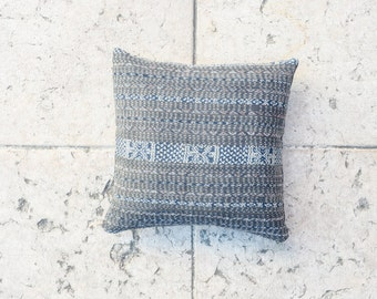 IKAT blue gray, 16x16 inch, geometrical pattern, Tribal fabric, Indie pillow cover, Boho pillow, BLue indigo pillow cover, Decorative pillow
