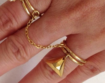Double Finger Ring, Chain Linked Ring, Thin Gold Rings, Chain Ring