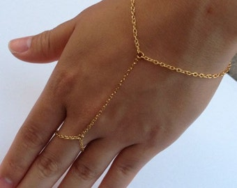 Gold Chain Linked Ring Bracelet - Hand Jewelry - Hand Flower - Handflower