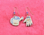 Handpainted ceramic garden glove and watering can earrings w 12K gold filled ear wires