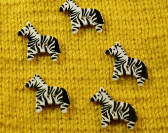Hand-painted ceramic zebra buttons x5