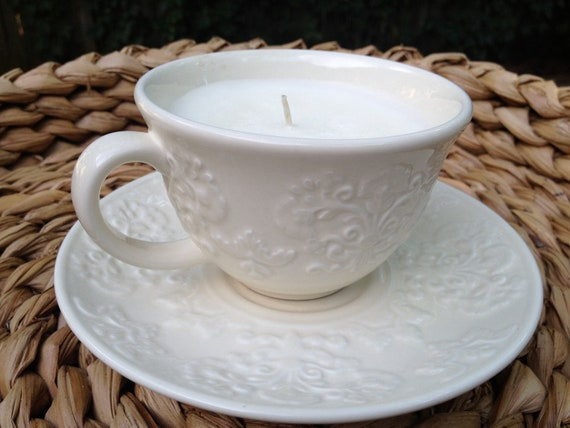Ivory Damask Tea Cup Candle with Saucer