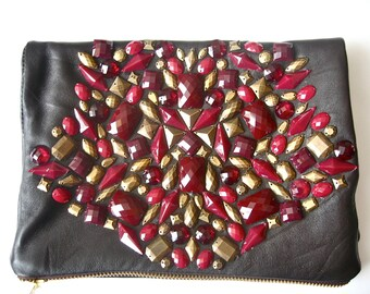 CHOCOLATE CHERRY brown foldover embellished bag (free international shipping)