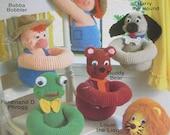 Annie's Attic BOBBLERS Frog Lion Bear Dog Farmers 6 Crochet Patterns Pattern