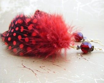 Red Guinea Feather Earrings