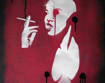 "Original Graffiti Stencil Art by Mr Pilgrim ""Smoking Android"""