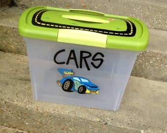 Cute, Fun, Functional: Custom, hand-painted large plastic storage container w/ latching lid & fun play top for kids