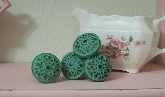 6- Cast Iron Green Knobs-Dresser Knobs-Vintage Inspired