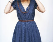 MADE TO ORDER Navy and White Polka Dot Cotton Dress