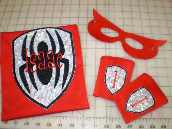 Superhero Cape, Mask and Super Power Cuffs - Spiderman Inspired  - Personalized