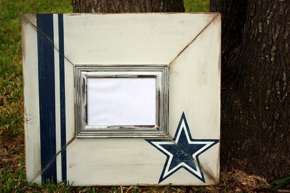 cowboys distressed silver navy & white star 5x7 frame with silver trimwork