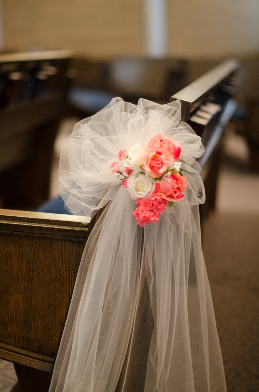 Wedding aisle decoration pew bow coral flowers by for Aisle decoration for wedding