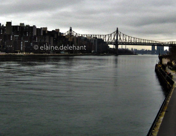 59th St. Bridge from East River NYC, Wall Decor/Original Art Photograph, High Dynamic Range, Moody, Dreamy, Painterly, Cloudy