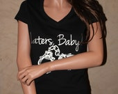 Laters Baby Black FITTED V-Neck Shirt with big hand cuffs and Silver Ink - Unofficial fifty shades of grey