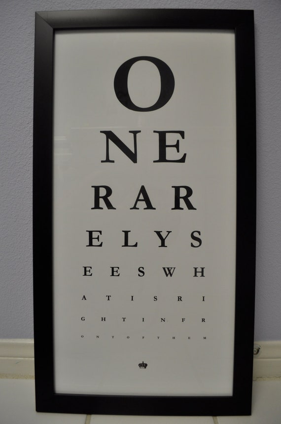 VINTAGE Doctor's Eye Chart with Black Frame