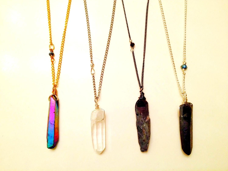 long crystal prism layering necklace. Black Bedroom Furniture Sets. Home Design Ideas