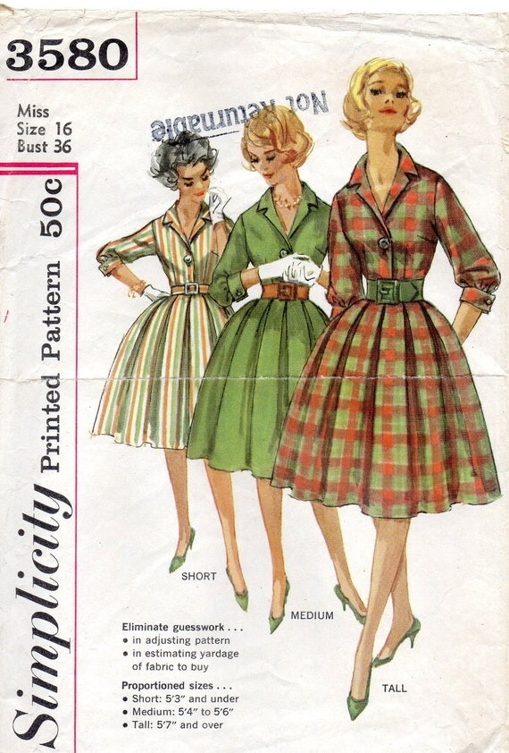 1960's Vintage Simplicity 3580 Woman's One Piece Dress Sewing Pattern - Size 16 Bust 36 Mad Men Style