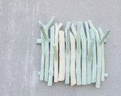 Special listing for Camilla ..... Mint branch wall hanging wooden hook ombre shabby chic jewelry organizer housewares key holder