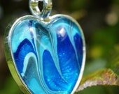 Heart Pendant in Blue and Green on Silver Necklace Chain, Hand Painted Glass Cabochon
