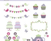 Garden Party Floral Digital Clip Art  for scrapbooking, cards, stationary, invitations, and all paper crafts