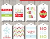 INSTANT DOWNLOAD - Printable Christmas Holiday Gift Tags & Hang Tags - DIY Holiday Labels Pdf