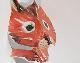 Squirrel Pop up Card - 3D - Watercolour print - Handmade