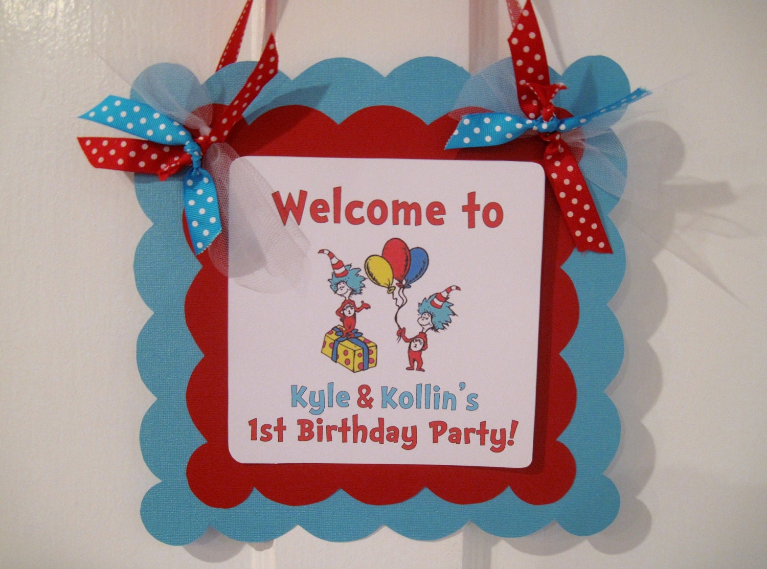 thing 1 thing 2 dr  seuss welcome door sign birthday welcome