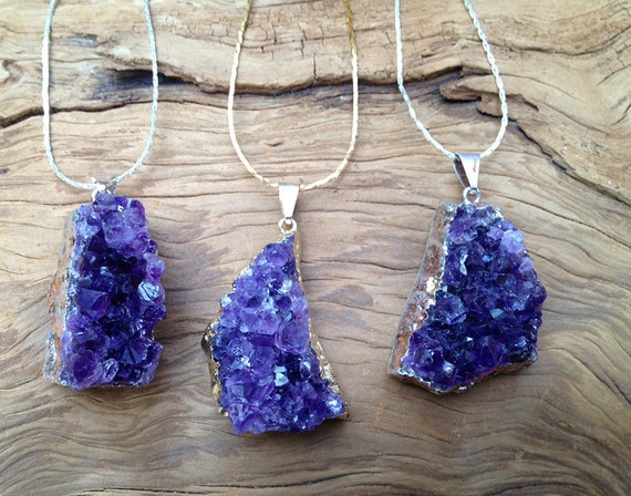 Amethyst Raw Quartz Crystal Necklace Silver Chain Mystical Magical Healing Stone