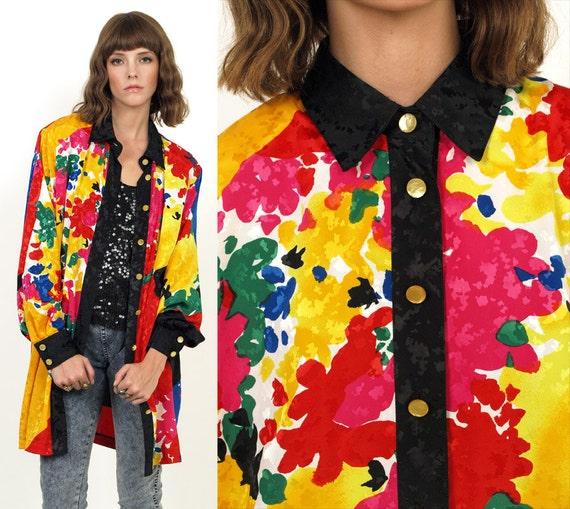 50% OFF SALE 80's Colorful Splatter Print Button Up Tunic Shirt Blouse Dress s/m